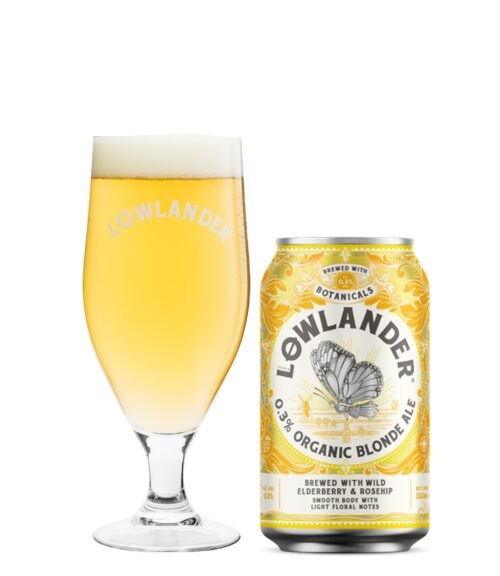 0.3% Organic Blonde Ale Glass + Can _