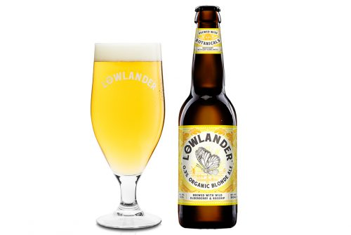 Lowlander Botanical Beers 0.3% Blonde Ale glass + bottle