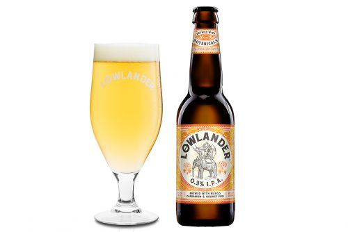 Lowlander Botanical Beers 0.3% IPA glass + bottle