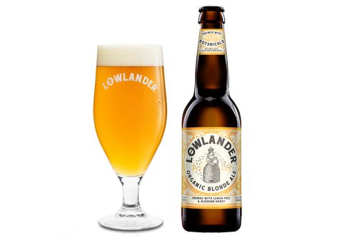 Lowlander Botanical Beers Blonde Ale glass + bottle