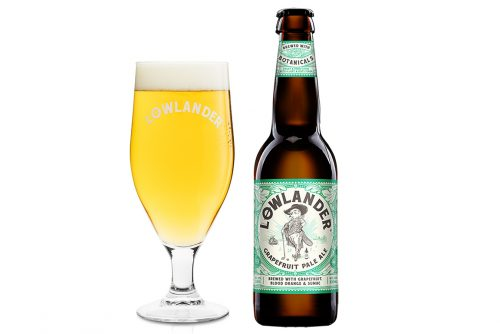 Lowlander Botanical Beers Grapefruit Pale Ale glass + bottle