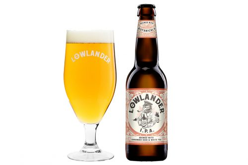 Lowlander Botanical Beers IPA glass + bottle