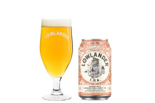 Lowlander Botanical Beers IPA glass + can