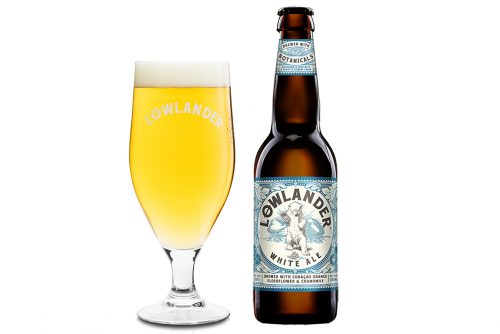 Lowlander Botanical Beers White Ale glass + bottle