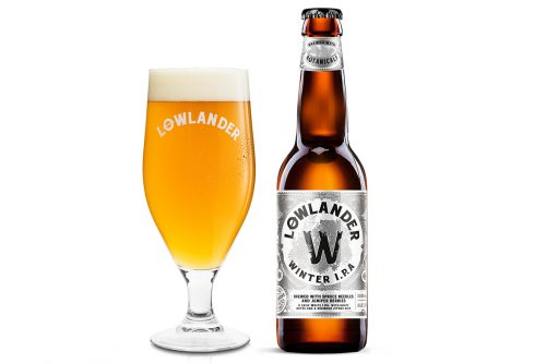 Lowlander Botanical Beers Winter IPA glass + bottle