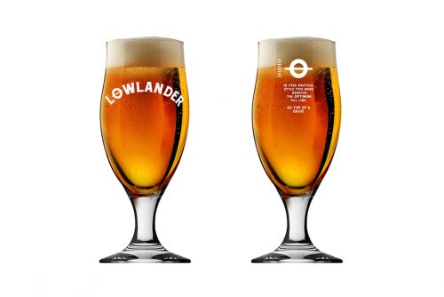 Lowlander Botanical Beers glass sixpack