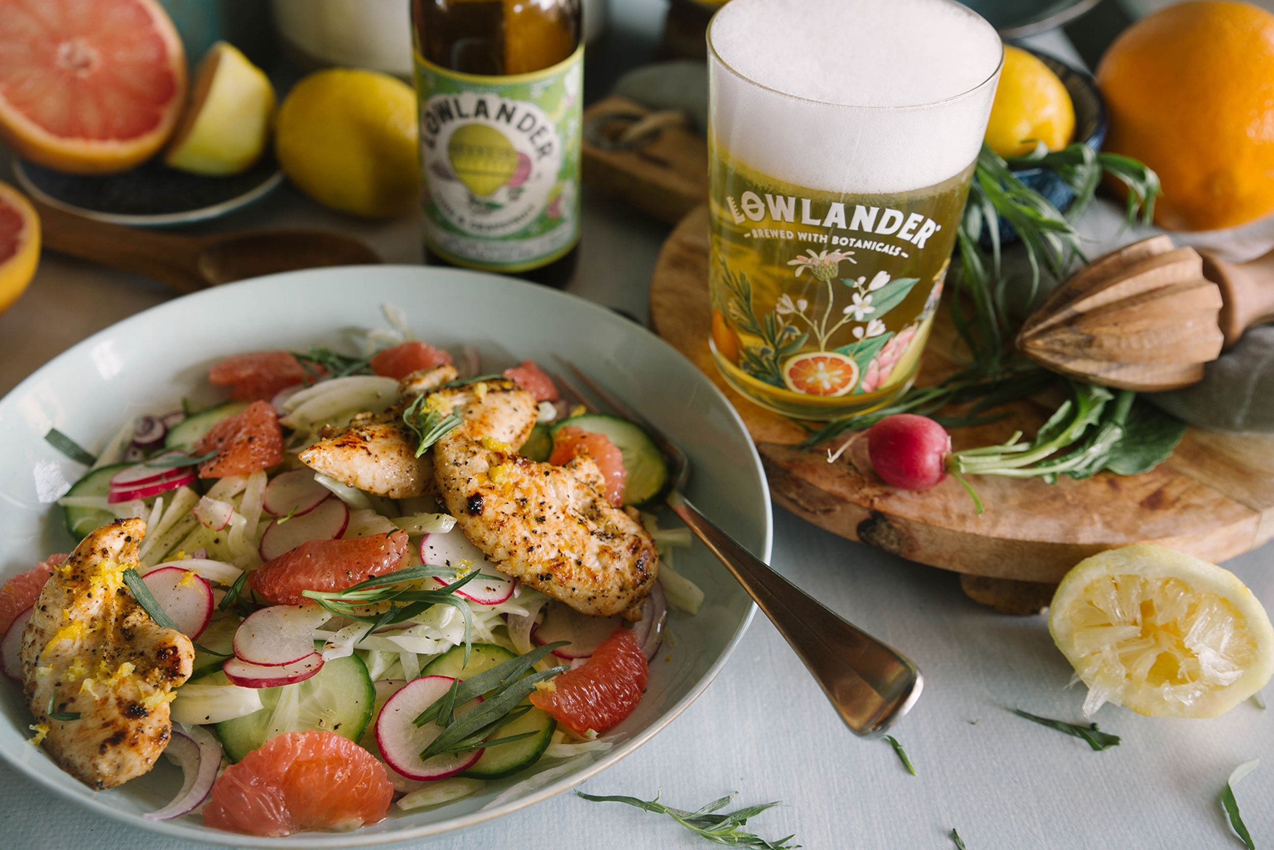 Lowlander Botanical Beers_Recipe_Foodpairing_Yuzu_Fennel Citrus Chicken Salad_landscape