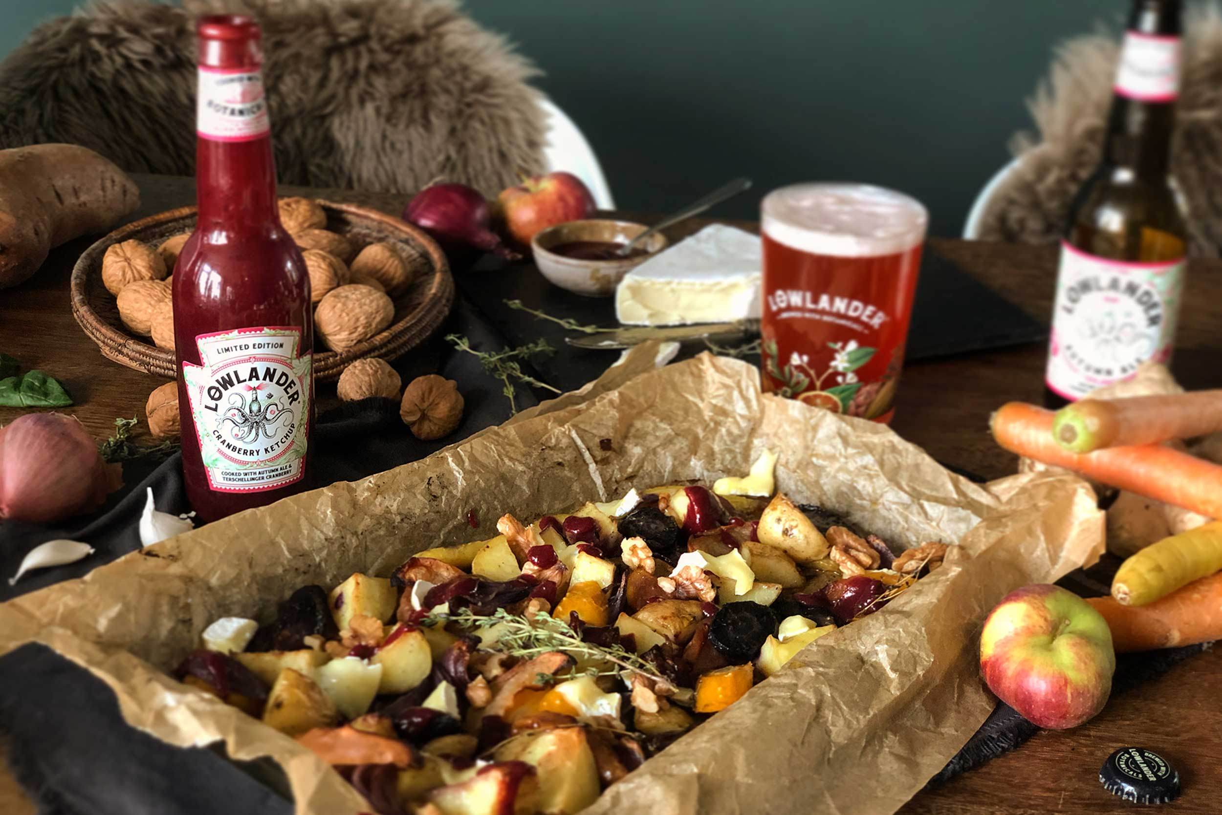 Lowlander Botanical Beers_Recipe_Foodpairing_Cranberry Ketchup_Roasted vegetables Brie_landscape
